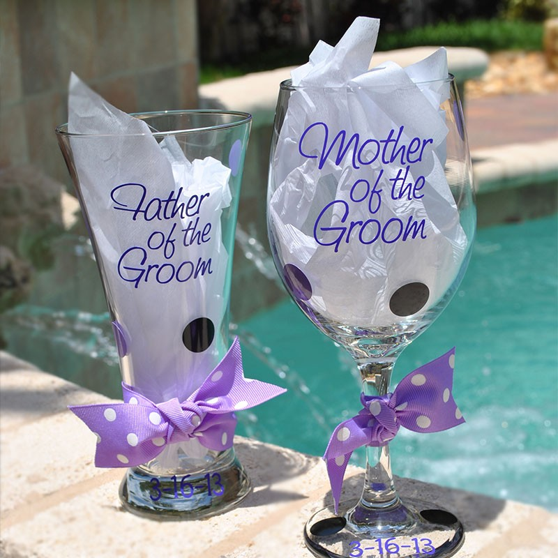 fancy bridal party wine glass