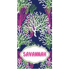 Coral Reef Navy  Beach Towel
