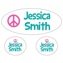 Waterproof Labels *Peace Aqua and Pink*